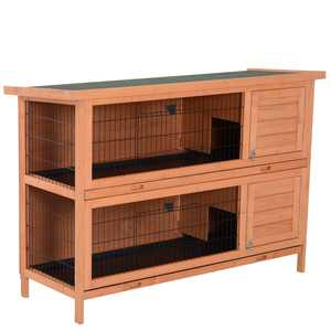 "PawHut 54"" Raised Compact Dual Outdoor Wooden Rabbit Hutch Small Animal Cage With Trays"