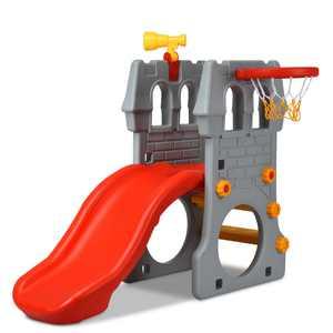 Gymax 2-Step Children Castle Slide Basketball Hoop and Telescope Toy Indoor & Outdoor