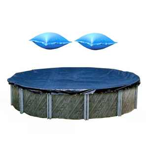 Swimline 18 Foot Round Pool Cover + 4x4 Winterizing Closing Air Pillow (2 Pack)
