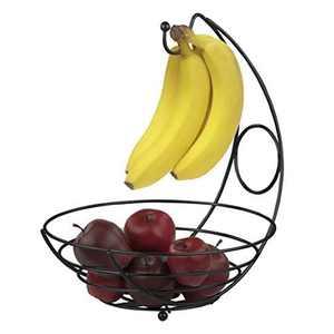Home Basics Black Fruit Basket with Banana Tree