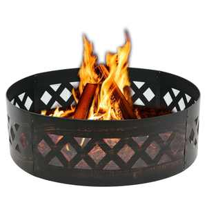 """Zeny 36"""" Portable Steel Fire Pit Ring Metal Campfire Ring Fire Rings Backyard Camping Cookout BBQ Patio"""