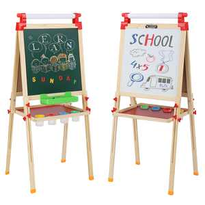 Zimtown Kids Wooden Easel, Dry Erase Board & Chalkboard, with Paper Roll and Drawing Accessories