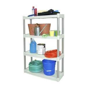 """Plano 32.25""""W x 12.5""""D x 48.25""""H 4-Shelf Storage Unit, Light Taupe"""