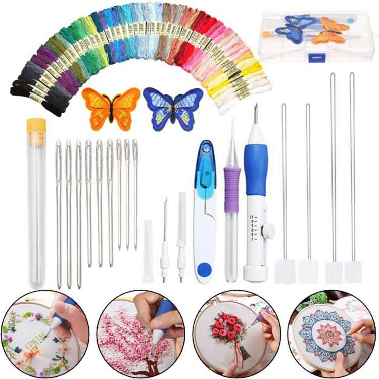 SUPERHOMUSE Cross Stitch Set Butterfly Magic Embroidery Pen Needle Punch Embroidery Set of Pen Tooling Crafts Including 50 Colors of Yarn