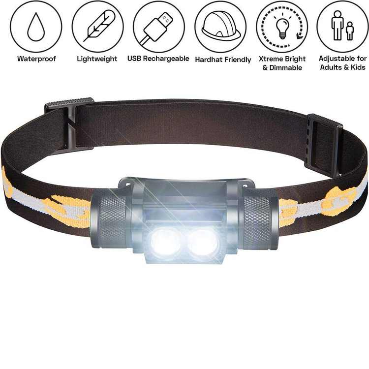 1000 Lumen Rechargeable 2x CREE LED Headlamp W/ 2200 MAh Battery - Lightweight, Durable, Waterproof and Dustproof Headlight - Extreme Bright 600 Ft Beam - Camping and Hiking Gear