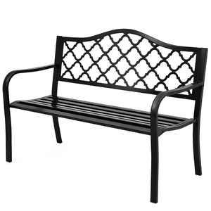 Patiojoy Outdoor Chair Garden Patio Bench Cast Iron Frame Black