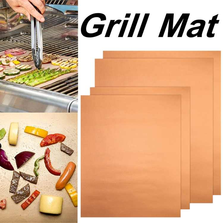 4Pcs Grill and Bake Mats BBQ Reusable Pad Tool For Gas Easy Bake Cook Grate Cover Camping Hiking Home Outdoor(34 x 23.5CM)