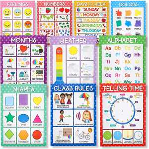 Juvale 10-Count Preschool Classroom Educational Learning Poster Charts, 10 Designs, 17.5 x 24 inches