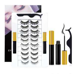 SAISZE Magnetic Eyelashes with Eyeliner Kit - 10 Pairs Magnetic Eyelashes and 2 Pieces Eyeliner