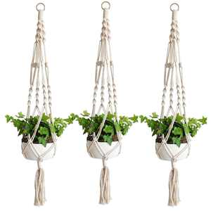 EEEKit 3pack Macrame Plant Hanger,  Indoor Outdoor Wall Hanging Planter Basket Flower Pot Holder Boho Home Decor Cotton Rope 4 Legs 41 inch for Living Room, Kitchen, Deck, Patio, High and low Ceiling