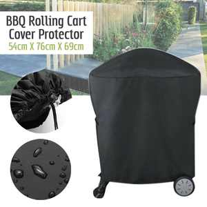 BBQ Grill Cover Weatherproof Heavy Duty Outdoor Protector Large - Black , Barbecue Grill Cart Cover Accessories For Weber Q 200 Series with Reinforced Nylon Cord