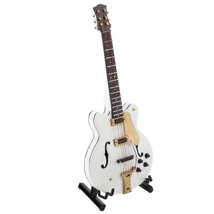 Mgaxyff Miniature Instruments,Miniature Guitar,5.5in White Miniature Electric Guitar Replica with Box Instrument Model Ornament Christmas Gift