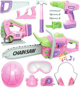 Exercise N Play Kids Tool Set with Electric Toy Drill Chainsaw Jigsaw Toy Tools for Girl, Realistic Kids Power Construction Pretend Play Tools Set Playset Kit for Toddler Boy Girl Kid Tool Toy Pink