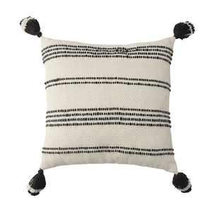 """Better Homes & Gardens 21"""" x 21"""", Woven Stipe Outdoor Toss Pillow, Black & White"""