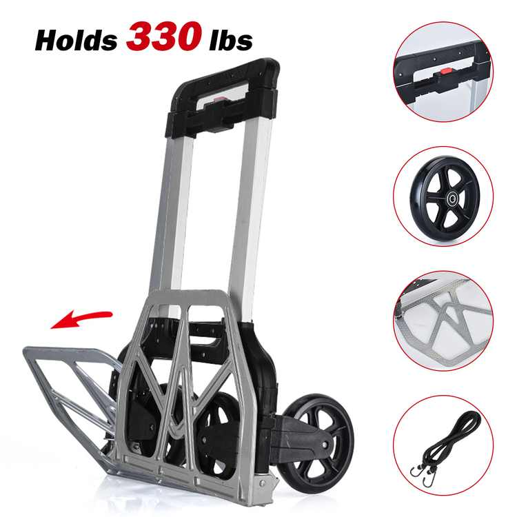 Folding Hand Truck Heavy Duty, 330-Lb. Load Capacity Portable Aluminum Alloy Cart Hand Dolly Push Truck Trolley with Wheels, for Luggage/Personal/Travel/Auto/Moving & Office