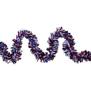 Patriotic Wide Cut Tinsel Garland for 4th of the July, 25ft, Unlit