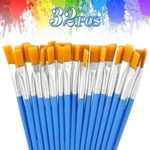 32 Pcs Flat Paint Brushes Set, Nylon Hair Small Brush Bulk for Detail Painting, Acrylic Oil Watercolor Fine Art Painting Flat Tipped Paintbrush Set for Kids, Students, Starter, Teens, Adults, Artist