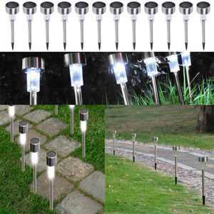 Zimtown 10PCS Spotlight Outdoor Stainless Steel LED Solar Landscape Path Lamp Garden Lights