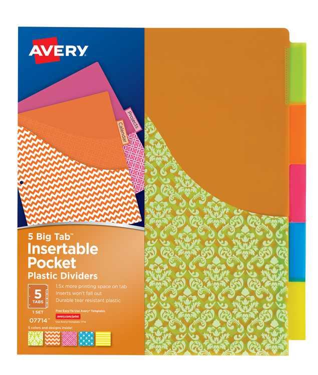 Avery Insertable Plastic Pocket Divider, Damask, Big Tab, 5Tab (07714)