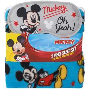 Disney Mickey Mouse Toddler Blanket and Sleep Mask Set