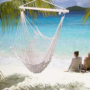 Zimtown Outdoor Hanging Swing Cotton Hammock Chair Solid Rope Yard Garden