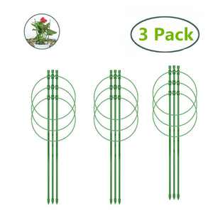 45cm Garden Plant Support Ring, Plant Support Cages 18 Inches Flower Fiberglass Support Climbing Plant Grow Cage 3pack/set