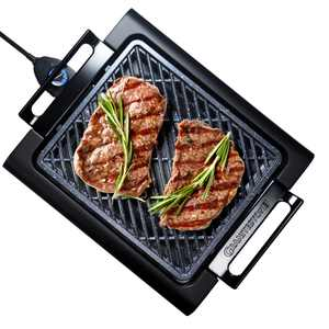 GraniteStone Indoor Nonstick Electric Smoke-Less Grill with Cool-touch handles and adjustable Temperature Dial  Black, 16 x 14 As Seen On TV!
