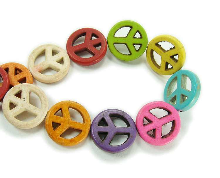 20mm Multi Color Howlite Peace Sign Beads Genuine Natural Gemstone Jewelry Making