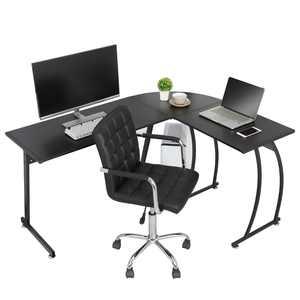 Modern L-Shaped Laptop Corner Desk Computer Desk Table, Home Office Writing Workstation Black