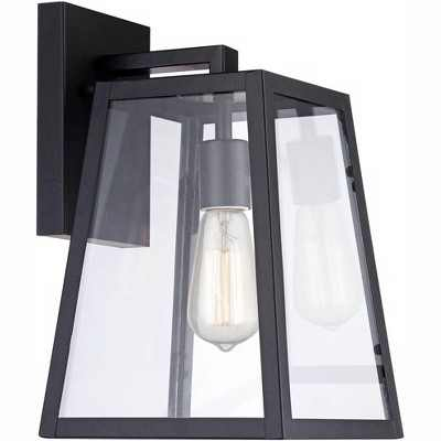 """John Timberland Modern Outdoor Wall Light Fixture Black 13"""" Clear Glass Edison style bulb for Exterior House Porch Patio"""