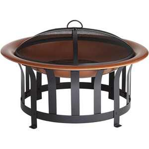 """John Timberland Copper and Black Outdoor Fire Pit Round 30"""" Steel Wood Burning with Spark Screen and Fire Poker for Backyard Patio Camping"""