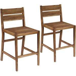 "Teal Island Designs Nova 24"" Natural Wood Outdoor Counter Stools Set of 2"