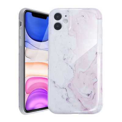 Glossy Marble Case For iPhone 11 6.1 inch (2019), Soft Flexible Slim TPU Gel Rubber Smooth Cover, Shockproof and Anti-Scratch, Pink Marble by Insten