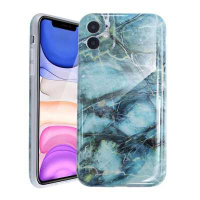 Glossy Marble Case For iPhone 11 6.1 inch (2019), Soft Flexible Slim TPU Gel Rubber Smooth Cover, Shockproof and Anti-Scratch, Green Marble by Insten