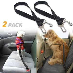 TSV 2PCS Pet Safety SeatBelt, Adjustable Dog Cat Car Seat Belt, Safety Leads Vehicle Seatbelt Harness, Made from Nylon Fabric