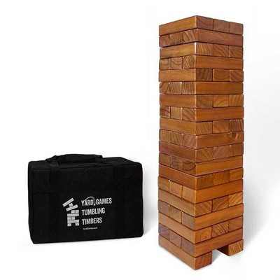 YardGames Giant Tumbling Timbers Wood Stacking Game with 56 Stained Pine Blocks