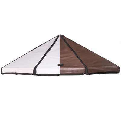 Advantek Pet 23253 3 Foot Outdoor Dog Gazebo Replacement Reversible Canopy Cover Tarp Umbrella Shade Top, Brown/White