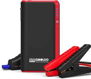 GOOLOO GP80 800A Peak SuperSafe Car Jump Starter for 4.5L Gas Engine 12V Auto Battery Booster Charger Portable Power Pack with Quick Charge In & Out Port, Built-in LED Flashlight, Red