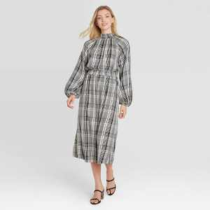 Women's Long Sleeve Smocked Dress - A New Day