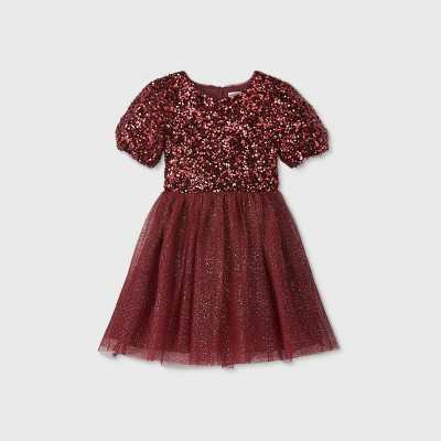 Girls' Sequin Tulle Puff Sleeve Dress - Cat & Jack™ Burgundy XL