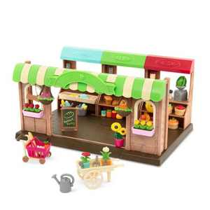 Li'l Woodzeez Store Playset with Toy Food 68pc - Hoppin' Farmers Market
