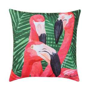 "C&F Home 18"" x 18"" Flamingos Coastal Tropical Indoor/Outdoor Decorative Throw Pillow"