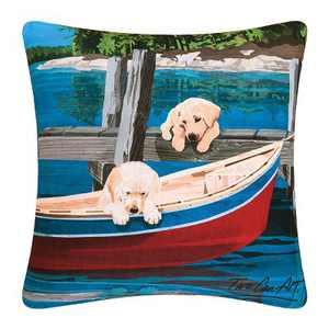 """C&F Home 18"""" x 18"""" Puppies & Canoe Indoor/Outdoor Decorative Throw Pillow"""