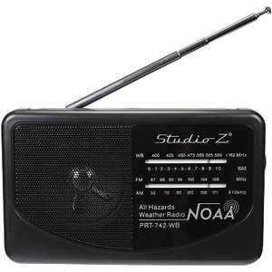 Studio Z PRT-742 Compact Portable High Sensitivity World Radio Speaker w/ Antenna, 3 Band High Sensitivity Receiver, and AM, FM, & WB Channels (Black)