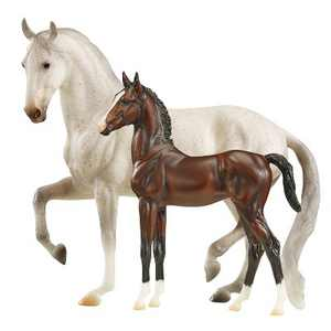 Breyer 1827 Favory Ariella Gift Hand-Painted Collectible 2 Horse Toy Set 1:9 Scale, White and Brown