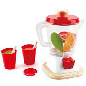 Hape E3158 Fruit Smoothie Blender Machine Kids Wooden Pretend Kitchen Appliance Play Set Toy with Cups, Straws, and Fruit Accessories