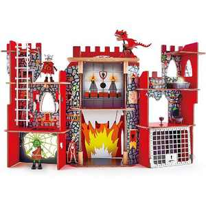 Hape Kid's Foldable Wooden Viking Dragon Castle Dollhouse Play Set with Magic Accessories and Action Figures