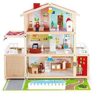 Hape Wooden 10 Room Extravagant Family Play Mansion Doll House Set with 4 Dolls, Doorbell, LED Lights and Furniture Accessories for Ages 3 and Up