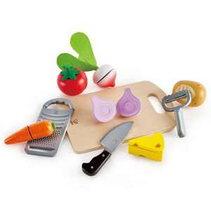 Hape E3154 Cooking Essentials Kids Wooden Pretend Kitchen Play Food Toys and Accessories Set with Vegetables, Cheese, Knife, Peeler, and Grater