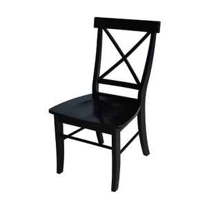 Set of 2 X Back Chairs with Solid Wood Seats Black - International Concepts